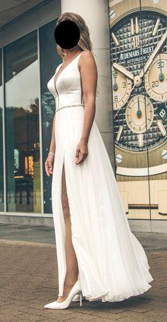 Suknia ślubna 36 śmietanka dekolt