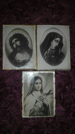 Antyk,przedwojenne,pamiątkowe obrazki religijne za szkłem 1929r.