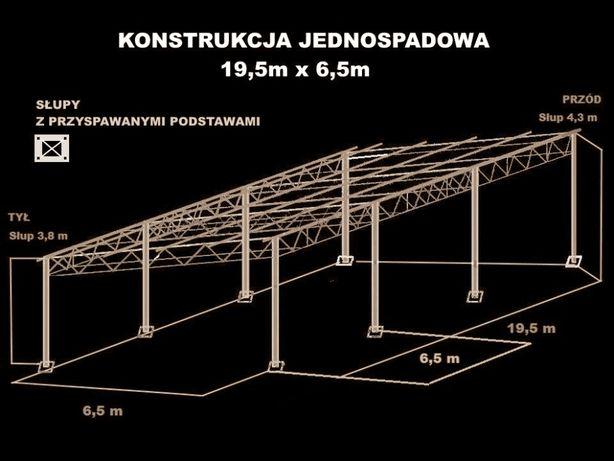 Konstrukcja skręcana wiata rolna garaż 19,5x 6,5m Hala Magazyn Blaszak