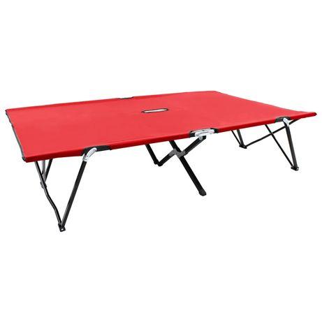 vidaXL Espreguiçadeira/cama dobrável para 2 pessoas aço vermelho 47761