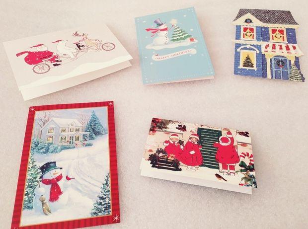 Из США! Новогодние рождественские открытки снегурочка снеговик ёлка
