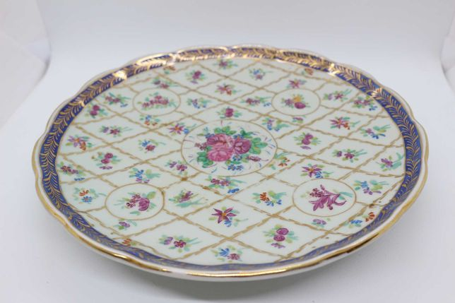 Prato c pé porcelana chinesa Companhia Índias decoração floral XX 26c