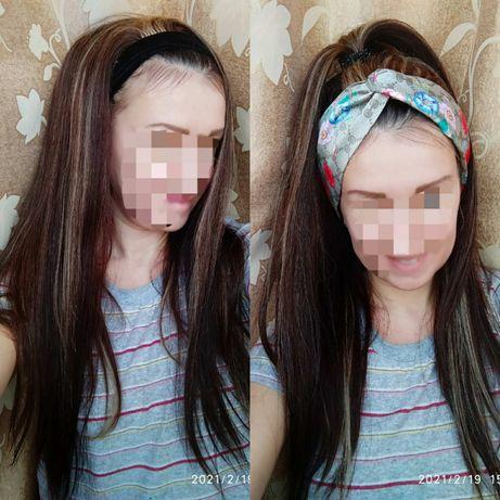 Тренд года!Натуральный парик на повязке славянские детские волосы 70см