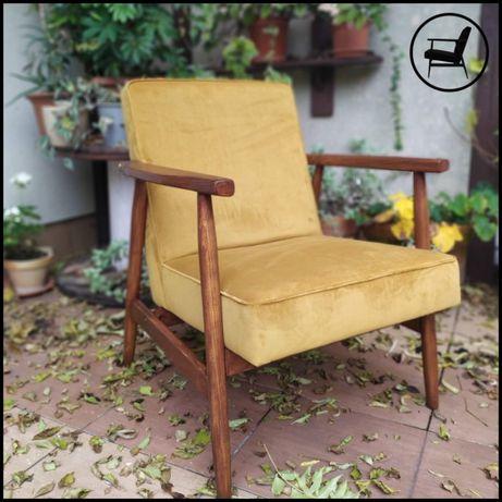 Fotel prl B-7727 renowacja miodowy vintage