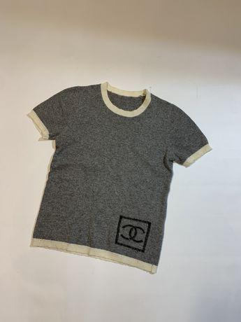 Женская оригинальная шерстяная футболка кофта Chanel wool 38 M