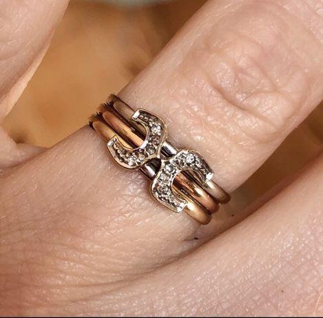 Pierścionek trójkolorowy złoto 585 14kt diamenty