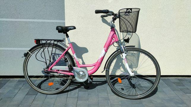 Rower damski Vortex City bdb stan / 28 cali / różowy z koszykiem