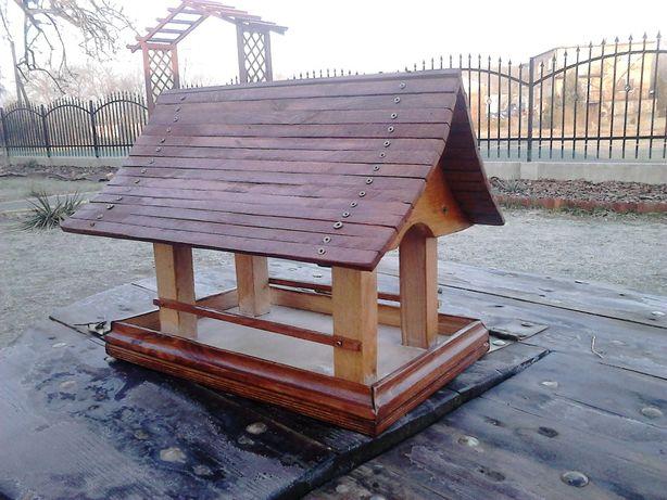 Karmnik dla ptakow- drewniany, domek, budka, prezent