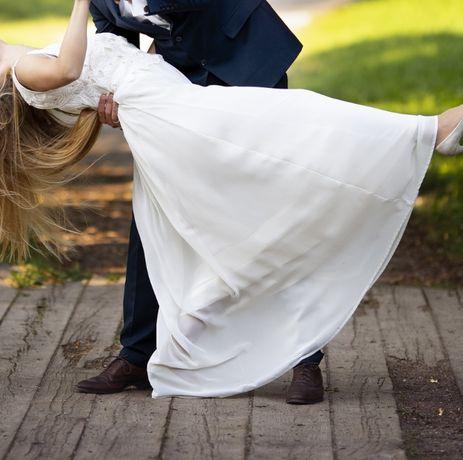 Suknia ślubna biała ecru 38 sesja ślub wesele
