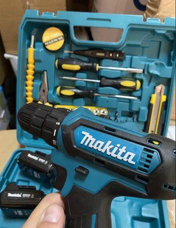2 АКБ Шуруповерт Makita 550 24В + набор инструментов с гибким валом