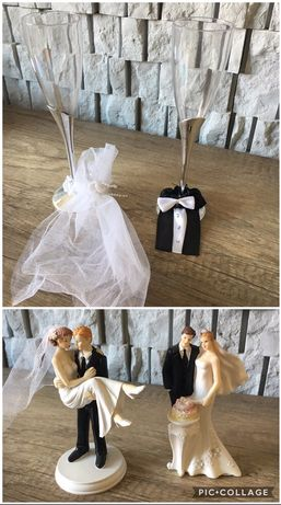Ozdoby dekoracje ślubne kieliszki