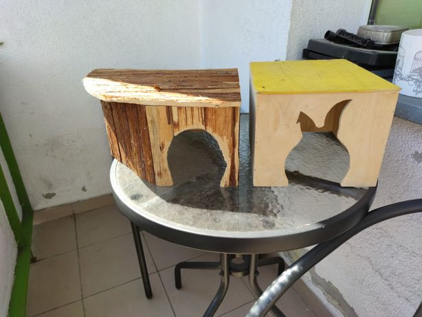 2 duże domki drewniane dla królika, gryzoni