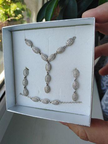 Komplet biżuterii ślubnej + Grzebyk do włosów