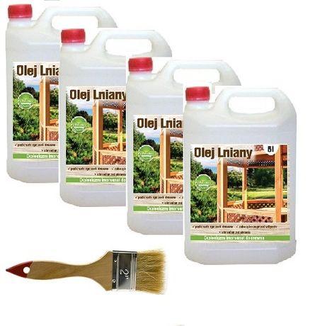 Olej lniany 100% naturalny impregnat do drewna 20 litrów GRATIS pędzel
