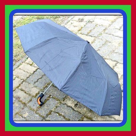 Podwójnie Automatyczny 3 Składana Parasol Czarny do Torebki Plecaka (M