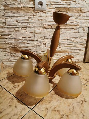 Żyrandol lampa sufitowa 5 kloszy olcha miodowa