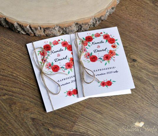 Zaproszenia ślubne boho sznurek czerwień zaproszenie