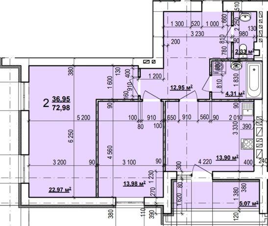 Реальная 2комн, ЖК Мира-3, м. Индустриальная, ХТЗ, дом 5, 72,98м2