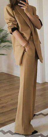 Zara garnitur spodnium komplet marynarka ze spodniami beż L