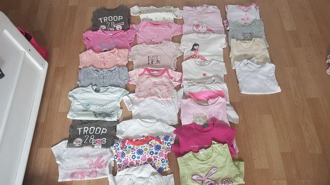 Paka dla dziewczynki Bluzki bluzeczki krótki rękaw sukienka roz 74