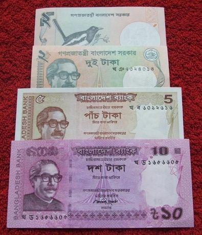 BANGLADESZ Kolekcjonerskie Banknoty Zestaw - 4 sztuki UNC