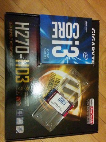 Комплект Intel i3-7100 + Gigabyte GA-H270-HD3 + 8 ГБ DDR4-2400