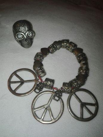 Zestaw gotyckiej biżuterii, gothikana pierścionek bransoleta