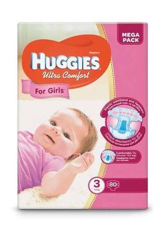 Подгузники Huggies ultra comfort для девочек 3 (5-9 кг) 80 шт.