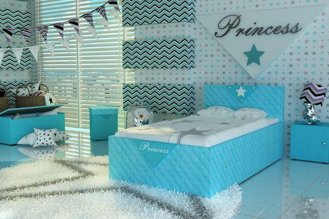 Błękitne łóżko dla dziecka,dziecięce z kryształkami+materac+DOSTAWA