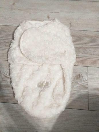 Biały otulacz dla noworodka, rożek