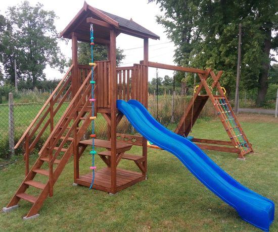 Drewniany Kompletny Plac zabaw: wieżyczka, ścianka, stolik, huśtawka