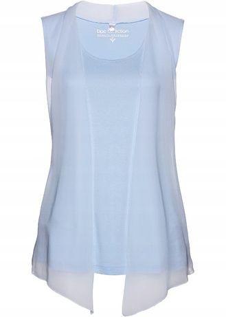 (22) Błękitna bluzka z szyfonem 40-42 NOWA
