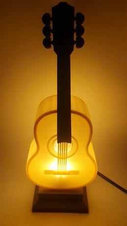 Lampa led gitara miedziana imitacja drewna idealna na prezent