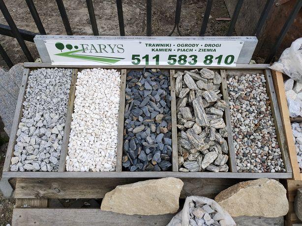Skład kamienia ozdobnego. Grys, kora, kamień. Granit, Marianna, gnejs.