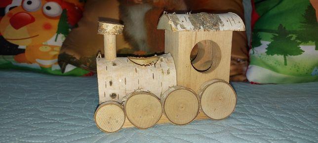 Domek chomik myszka brzoza naturalny lokomotywa