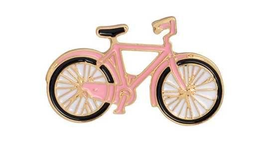 PIN Wpinka przypinka znaczek badge - różowy rower