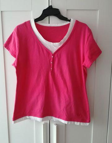 Różowa fuksjowa biała bluzka duży rozmiar 46-52 XXXXL