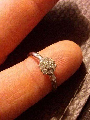Piękny pierścionek z białego złota rozmiar 9