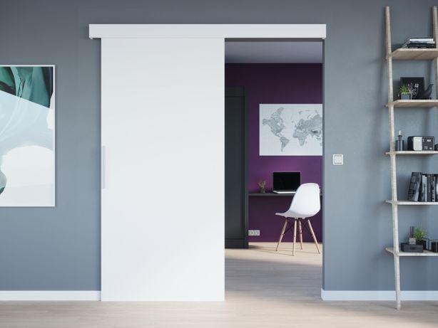 Drzwi przesuwne WERO 96 cm białe przejście SOLIDNE