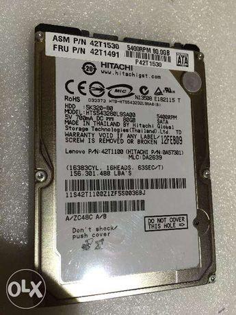"Disco Rígido 2.5"" Hitachi 80GB Sata como novo"