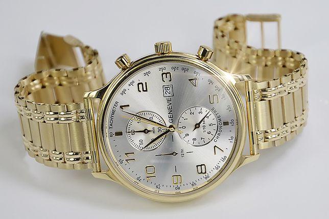 Złoty zegarek męski 14k włoski Geneve mw005yds&mwb009y B