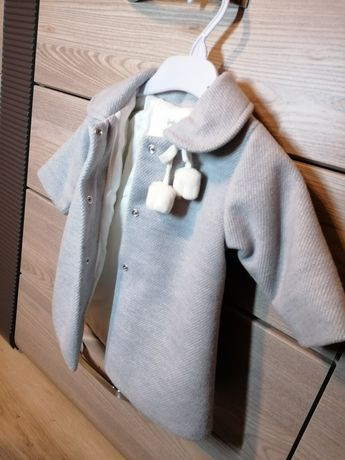 Szary płaszczyk dla dziewczynki niemowlaka 86