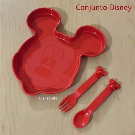 Prato + Garfo + Colher Disney - Tupperware