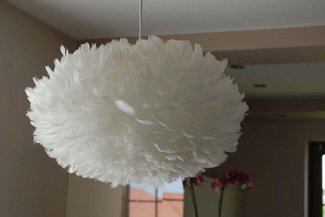 Lampa z piór / piórek biała średnica ok 43 cm