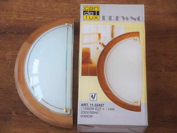 Lampa kinkiet plafon - drewno i szkło