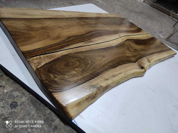 Blat orzech włoski 120x70x4 Live Edge do stołu ławy rustykalny styl