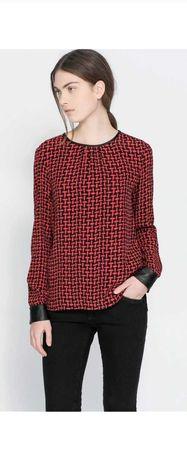 Zara Woman nowa koszula eko skóra red black XS S