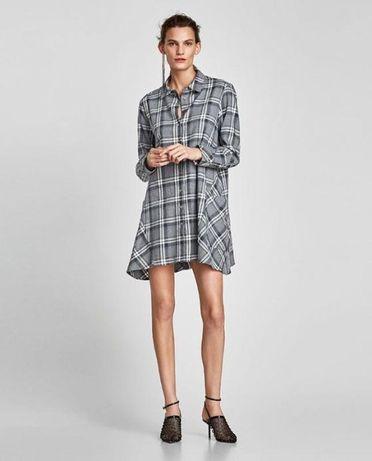 Zara платье- рубашка в клетку