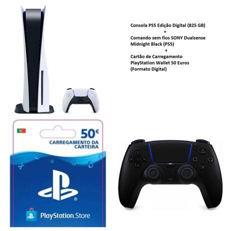 Playstation 5 digital + comando extra + cartão 50€ PSN SELADA