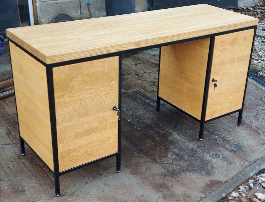 Biurko loft . Dwie szafki z zawiasami blum. Drewno dębowe.